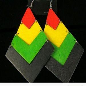 Rasta wooden earring